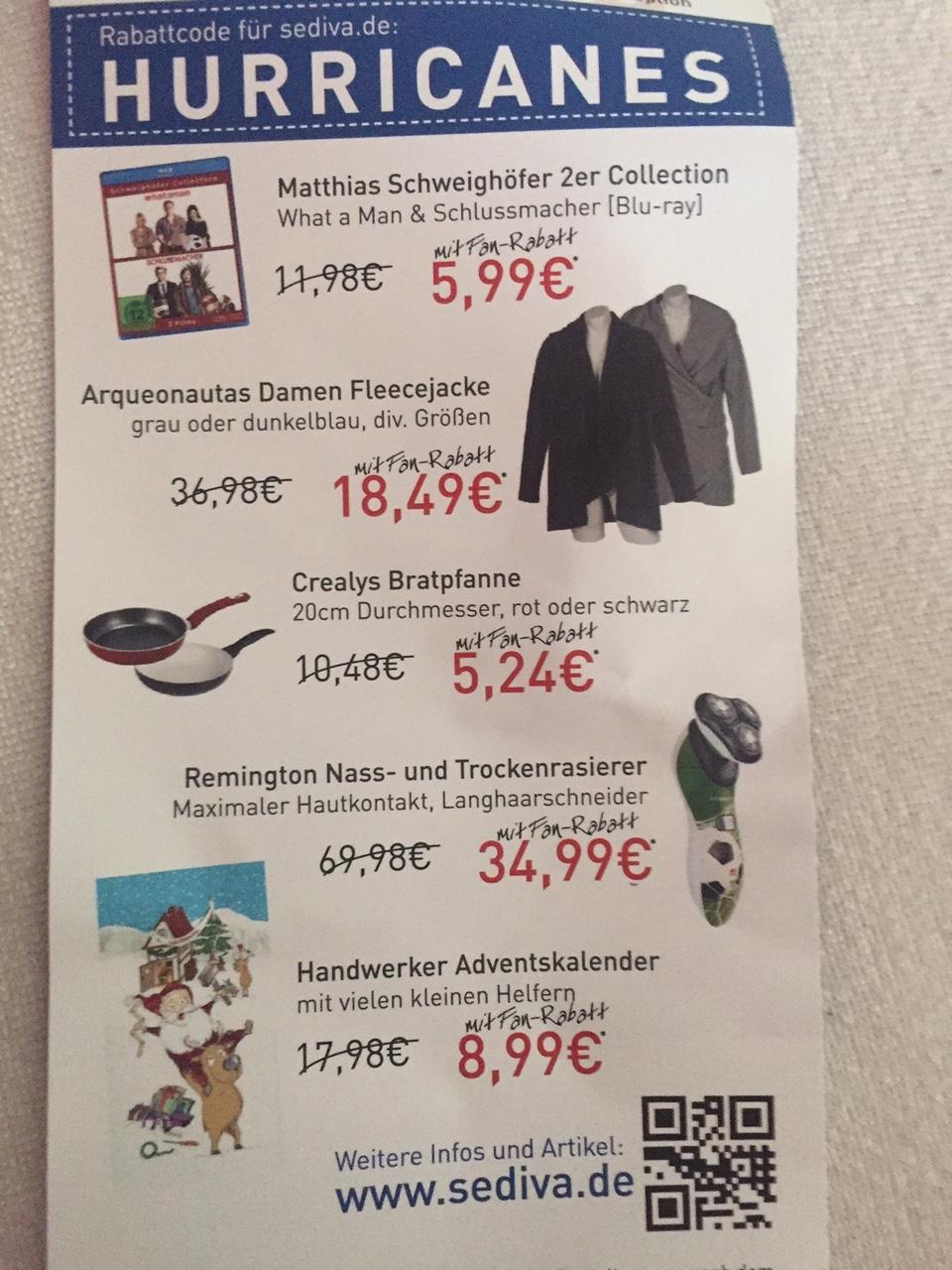 [@Sediva] 50% Rabatt durch Gutscheincode HURRICANES: zB Matthias Schweighöfer 2erCollection - What a Man/Schlussmacher [Blu-ray] für 5,99 oder Heimwerker Adventskalender für 8,99 (anstelle 17,98) (zzgl Versand) und viele weitere Artikel