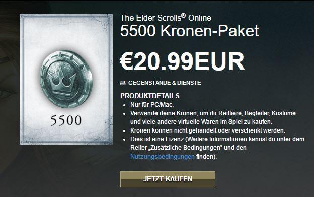 The Elder Scrolls Online : 5500 Kronen / 4er DLC Großpaket PC