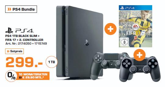 [Lokal Saturn Mönchengladbach] PS4 1TB Black Slim + FIFA17 + 2 Controller