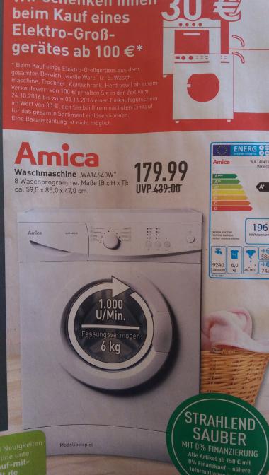 [Marktkauf Oelde, GE, Sundern, Voerde] Waschmaschine Amica WA14640W inkl. 30€ Warengutschein (30% unter Idealo)