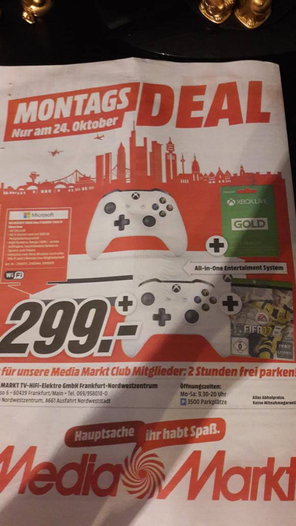 Xbox One S + FIFA 17 + 2.Controller + 3 Monate Live Mitgliedschaft *nur morgen im MediaMarkt Nordwestzentrum Frankfurt* 299€