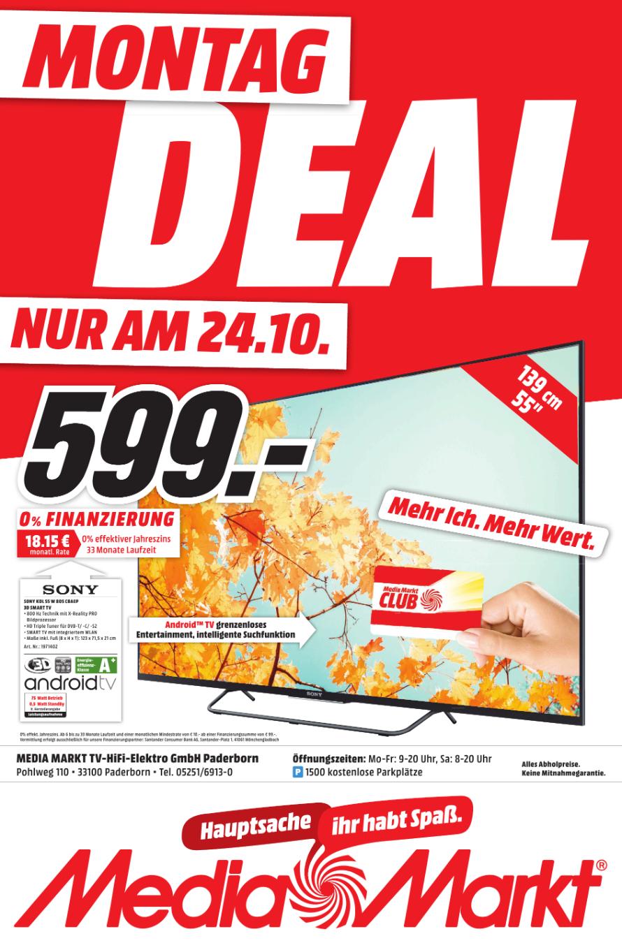 (Lokal Paderborn MediaMarkt) Sony KDL-55W805C statt idealo 764 nur 599.-