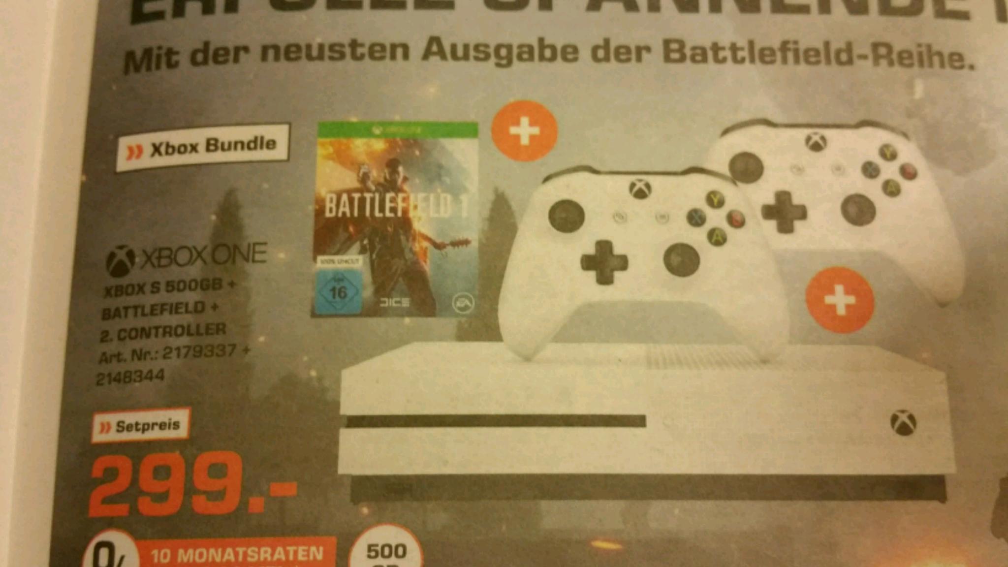 Xbox One S 500GB mit Battlefield 1 + 2ter Controller ab Mittwoch bundesweit
