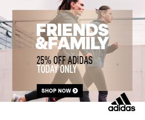 24 Stunden lang 25% Friends & Family Rabatt auf nahezu alles bei adidas (Outlet inbegriffen)