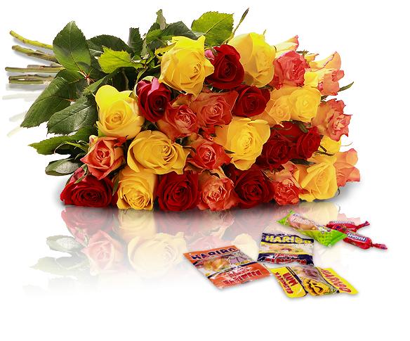 Miflora / 22 bunte Rosen + bis zu 12x Süßes für nur 18,90€ inkl. VSK – Halloween Special