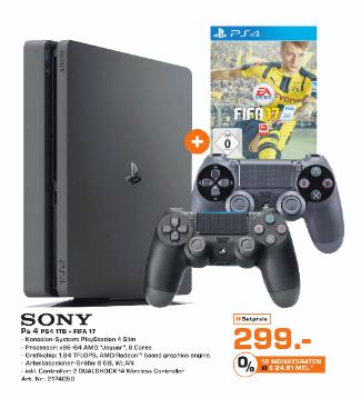 Ab Mittwoch bundesweit: Playstation 4 Slim (1TB) + Fifa 17 + 2. Controller für 299€ bei Saturn