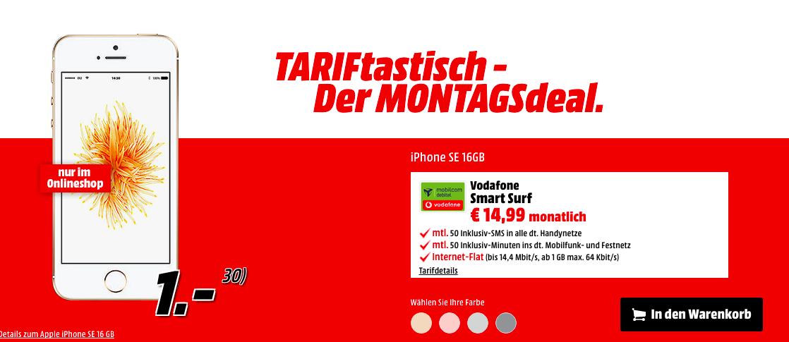 TARIFtastisch - Der Montagsdeal bei Media Markt: Apple iPhone se im 14,99 € Vertrag mit 50 Freiminuten und -SMS und 1 GB Datenvolumen im D2-Netz