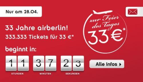 33 Jahre Air Berlin: 333333 Flugtickets für 33€ und 33€ Gutschein auf alle Reisen