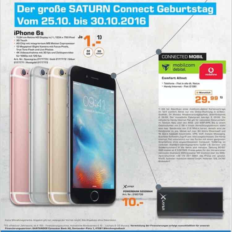 iPhone 6s 32 Gb , [Lokal Saturn Connect Schildergasse in Köln]  1€