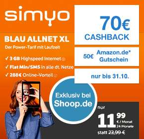 Simyo: Blau Allnet XL + 3GB  + Iphone SE 16GB (24*24,99€ -70€ Cashback - 50€ Amazon Gutschein)