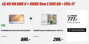 Mediamarkt / LG 49UH600V LED TV (Flat, 49 Zoll, UHD 4K, SMART TV) + XBOX One S 500 GB + Fifa 17