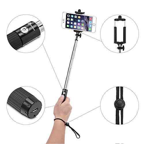 TaoTronics Selfie Stick Stange Stab Monopod Bluetooth für iPhone, Samsung, Smartphones Schwarz
