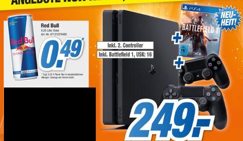 [Lokal HEM Expert Backnang**Nur Heute von 16-20 Uhr] PS4 Slim mit 500GB + Battfield1 + 2.ten Controller für 249,-€**Red Bull 0,25Liter für 0,49€