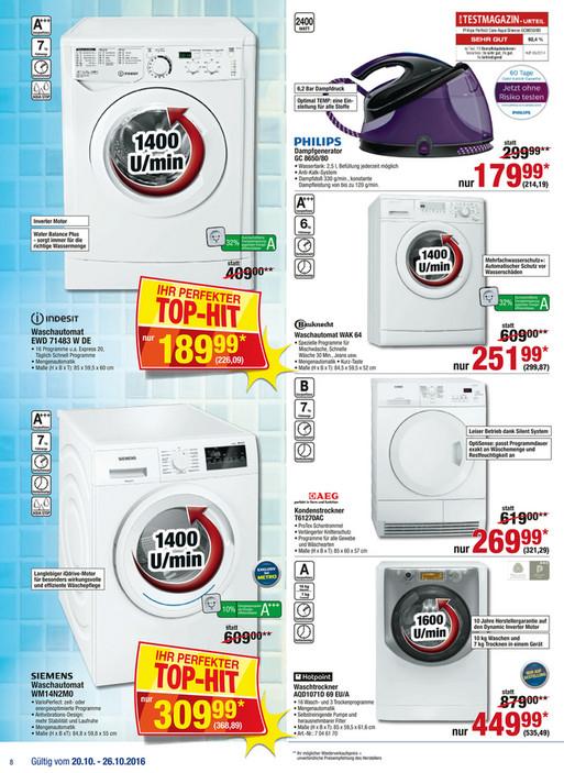 [METRO] Bauknecht WAK 64 Waschmaschine - A+++ 6KG 1400upm für nur 300€