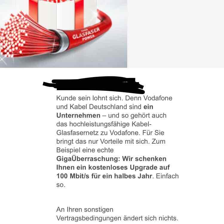[Vodafone Kabel Bestandskunden] 100mbit Leitung für 6 Monate geschenkt