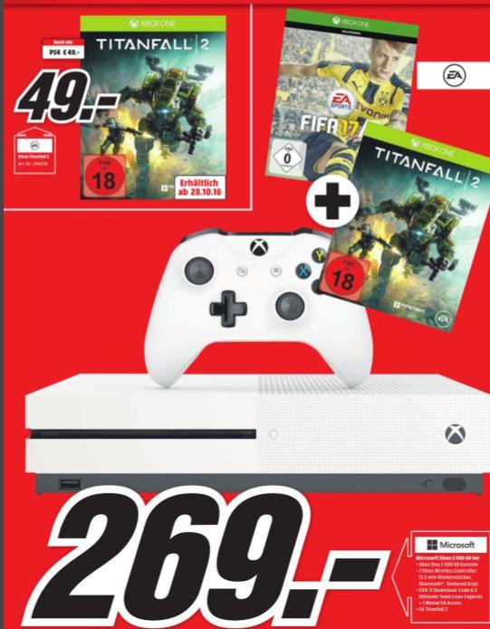 [Lokal Mediamarkt Pforzheim] Xbox One S mit 500GB als FIFA 17 Bundle + Titanfall 2 für 269,-€ oder nur Titanfall 2 (PS4/XB1) für je 49,-€**Update...mit 2.ten zusätzlichen Controller!!!