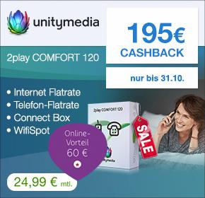 Unitymedia 2play Comfort 120 für 24,99€/Monat und diesmal -195€ shoop