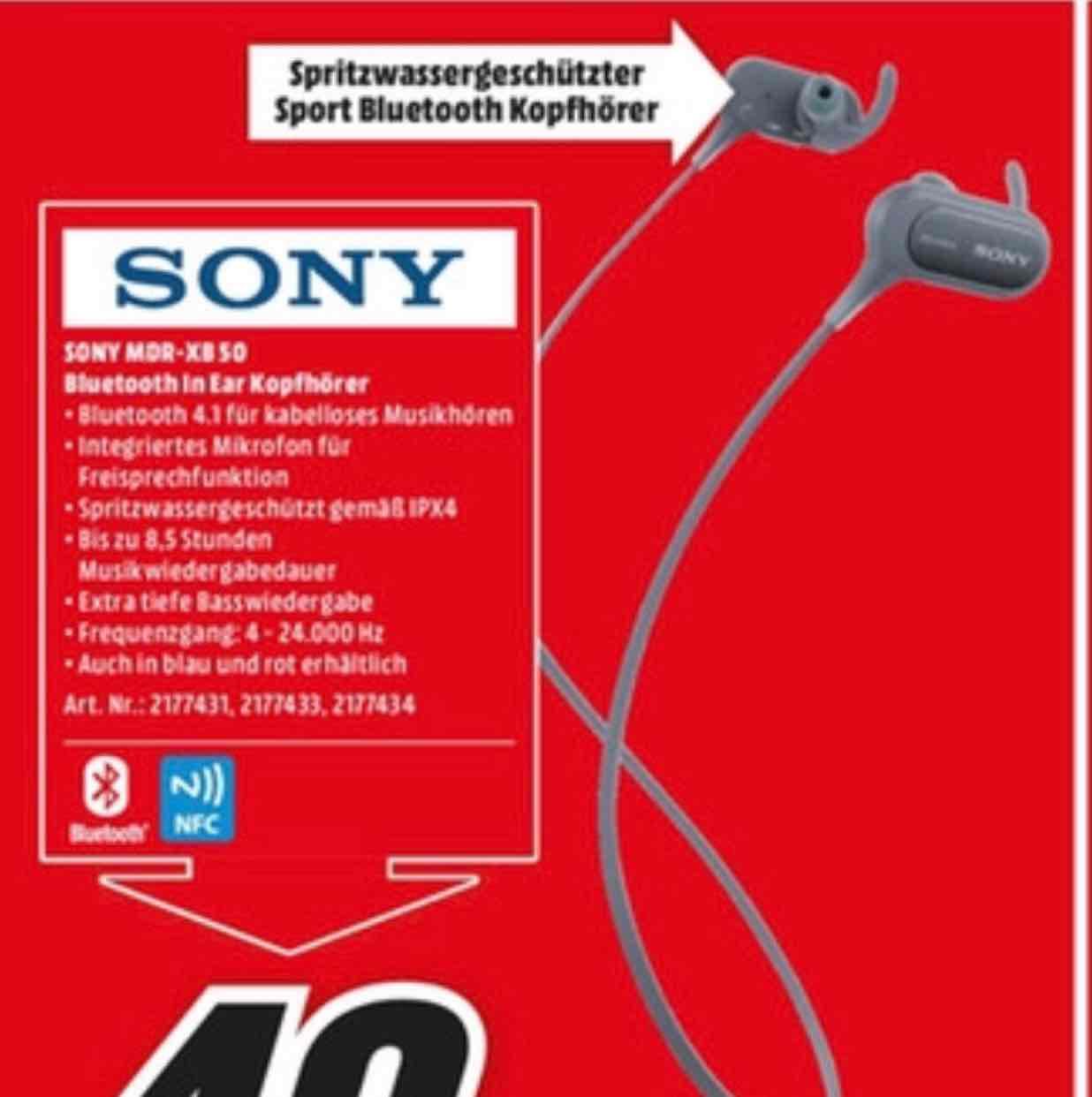 [ Lokal Media Markt Hamburg ] Sony MDR-XB50BS Bluetooth Kopfhörer für 49,-
