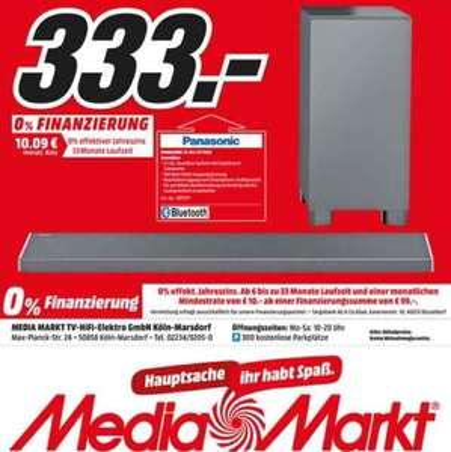 [Lokal] Panasonic ALL70 für 333€ im Media Markt Marsdorf