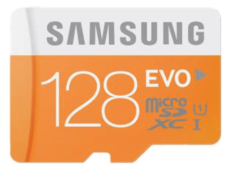 Samsung 128GB EVO microSD Speicherkarte 48MB/s + SD-Adapter [Class 10] für 26,-€ Versandkostenfrei [Mediamarkt Tpss]