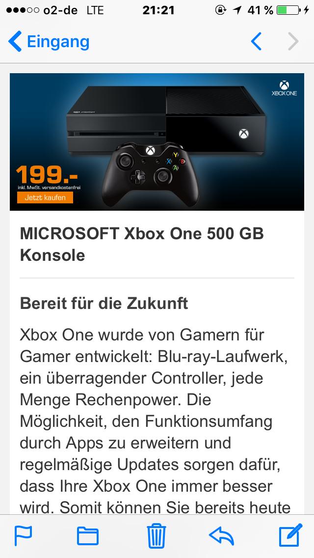 MICROSOFT XBOX ONE 500GB (MATT) + 1 Controller für 199 € inkl. Versand