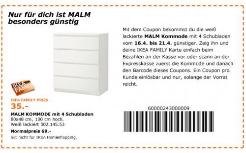 IKEA Bielefeld > Malm mit 4 Schubladen für 35,- statt 69,- (nur heute = 28.04.)