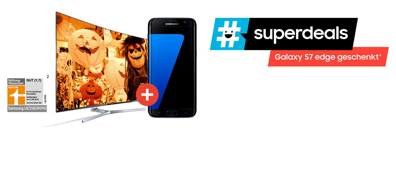 Samsung #halloween #superdeals SUHD/UHD-TV kaufen und S7 Edge, Tab A oder Tab E geschenkt bekommen (Bsp. UE40KU6409 + TAB E 9.6)