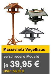 Verschiedene Vogelhäuschen aus Massivholz, mit Kupfer- oder Zinkdach, 155cm Futtersilo und Standfuss