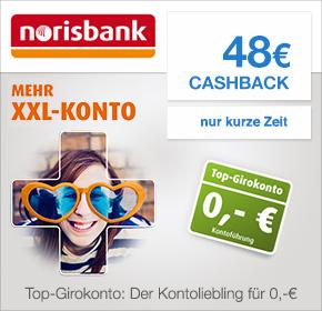Norisbank: Kostenloses Girokonto mit 48,- Euro Cashback von shoop.de (ehemals qipu.de) - zusätzlich KwK möglich