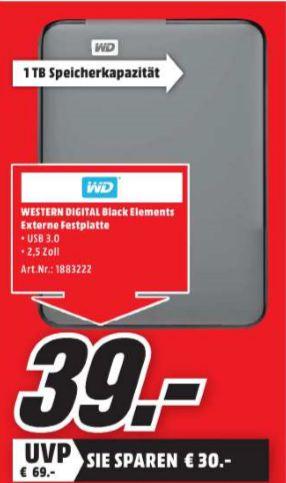 [Lokal Mediamarkt Göttingen Sonntagsangebot am 30.10] WD Elements™, Externe Festplatte, 1 TB, 2.5 Zoll? für schlappe 39,-€?