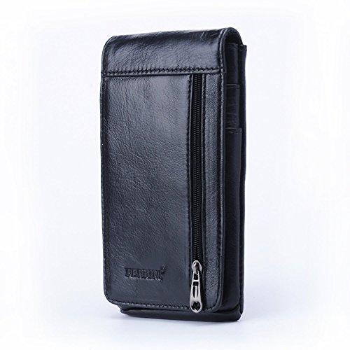 Amazon - Echt Leder Handytasche / Gürteltasche mit Kartenfächern für 15,99€