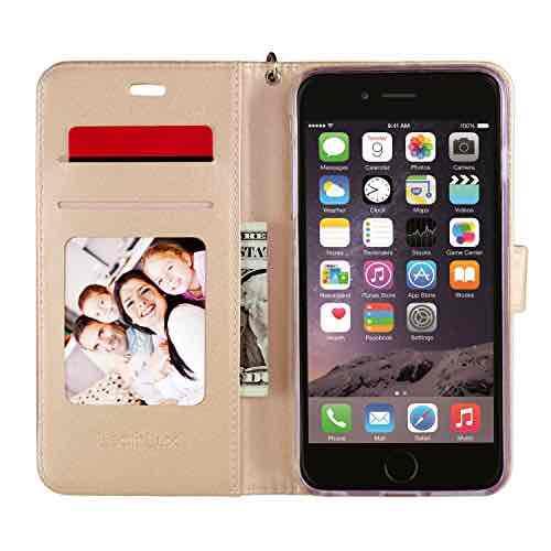 Leathlux iPhone 7 Hülle Gold , Reine Farbe Premium PU Leder Schutzhülle Bookstyle