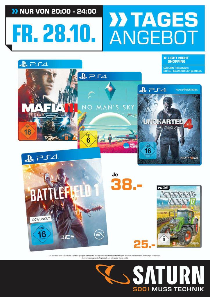 (Saturn Hildesheim) Battlefield 1 PS4 nur heute von 20 bis 24 Uhr