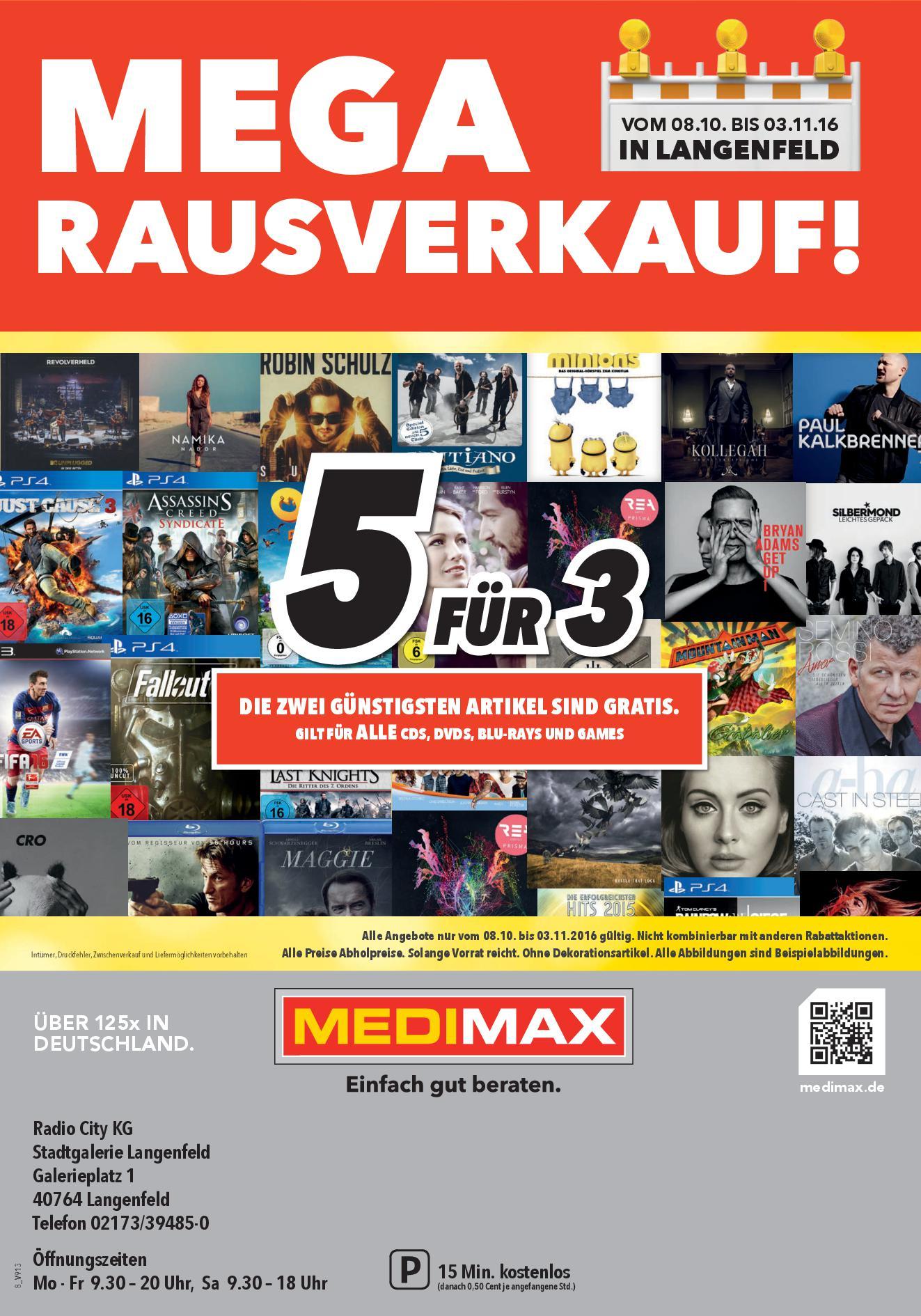 5 Spiele zum Preis von 3  (40% Rabat möglich) [MEDIMAX Langenfeld - LOKAL] Nachtrag: Filme/Musik auch 5 für 3