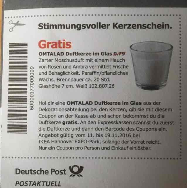 [Lokal Ikea Hannover-Expo] Omtalad Duftkerze im Glas Gratis