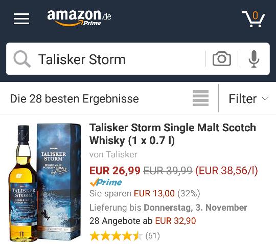[Amazon/Prime/Blitz] Talisker Storm 26,99€
