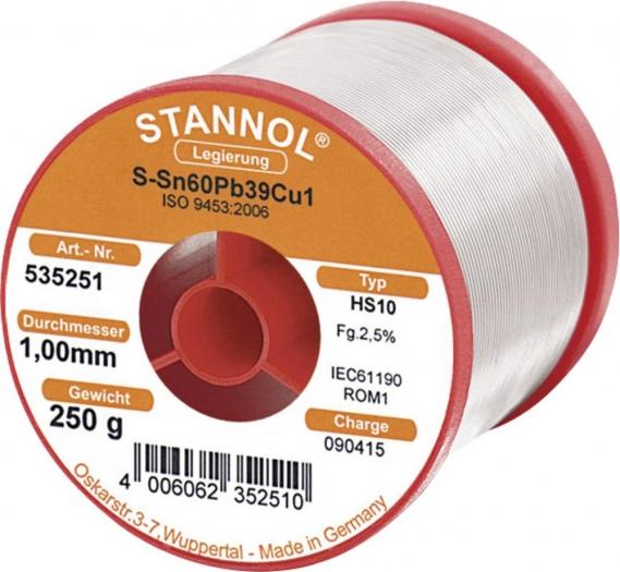 """STANNOL Lötdraht """"HS10 SN60PBCU2"""" (250g, säurefrei, Ø 1,0 mm) für 14,99 € statt 21,79 €, @Voelkner"""