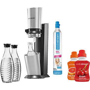 Ebay- Mediamarkt- SODASTREAM 1016513495 Crystal Wassersprudler Titan/Silber 3 Karaffen, 2x Sirup, 60l Zylinder