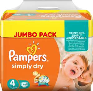 Pampers z.B. simply dry Gr. 3 - 6 Jumbo Pack ab 8,48€ Sparpack 9,76€ [windeln.de]