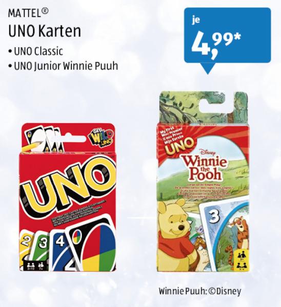 [Aldi-Süd] UNO Classic oder UNO Junior Winnie Pooh für jeweils 4,99€ ab 7.11.2016