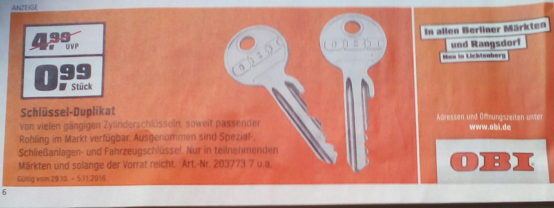 [Lokal OBI Berlin & Rangsdorf] vom 29.10-5.11 Schlüssel-Duplikat, Ersatzschlüssel 0,99€