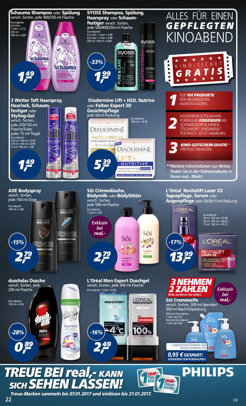 Für 10 € im Real Shampoo, Haarfestiger... kaufen und eine Kinokarte geschenkt erhalten, offline