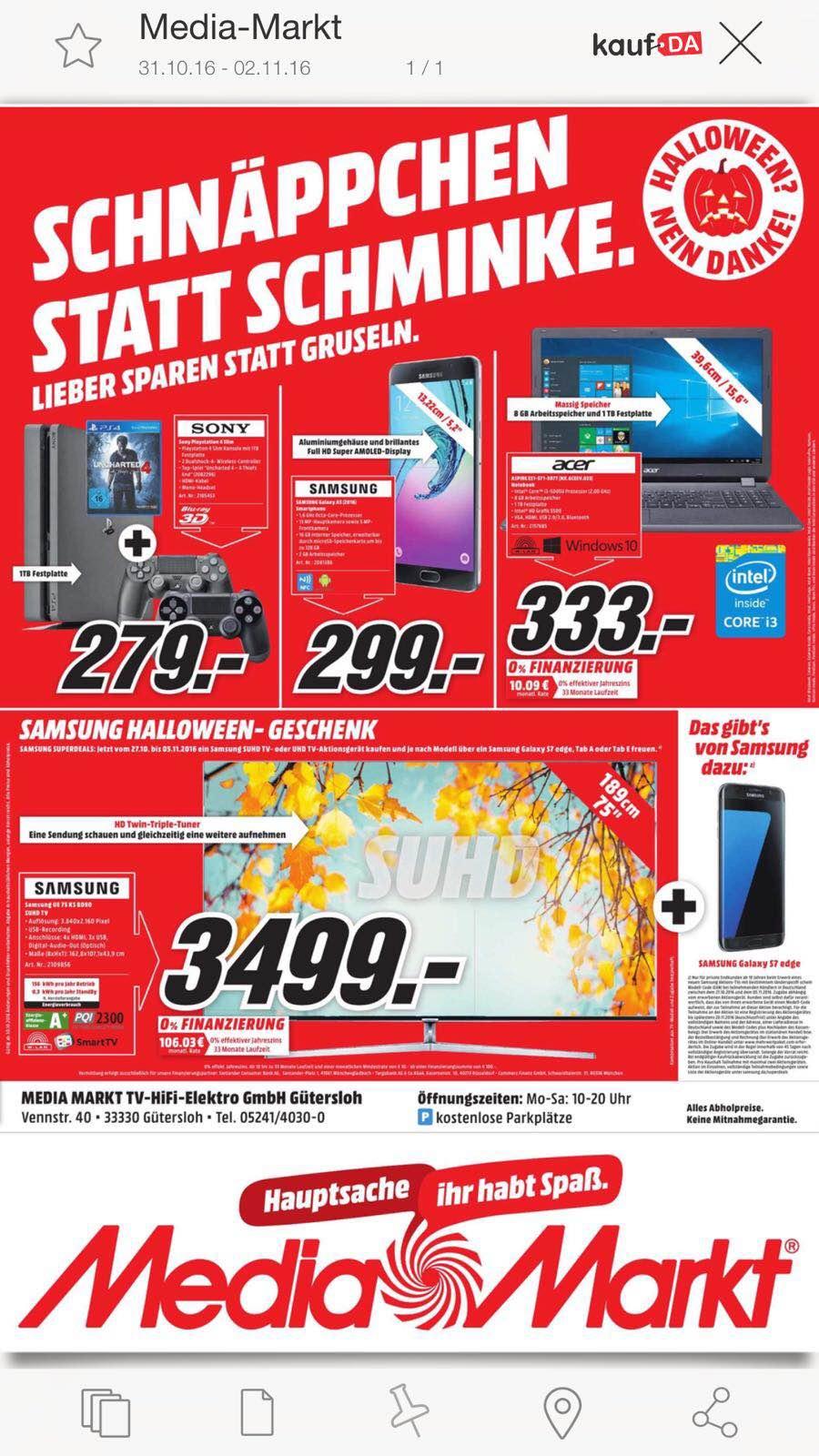 (Lokal) Media Markt Gütersloh Playstation 4 Slim 1 TB + 2. Controller + Uncharted 4 für 279,- Euro