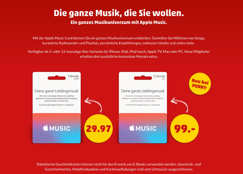 Apple Music-Jahresabo zum Vorteilspreis bei Penny (20€ gespart / 2 Monate geschenkt)