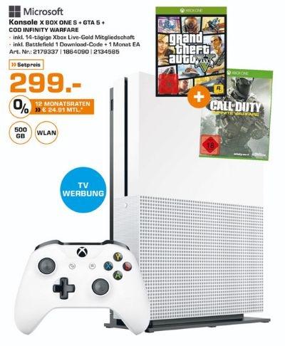 XBox One S 500 GB + Battlefield 1 + GTA 5 + Call Of Duty Infinite Warfare für 299,- € ab Mittwoch (evtl. Freitag) bei Saturn Bundesweit