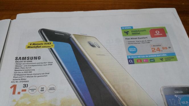 Samsung Galaxy S7 Edge für 1 €