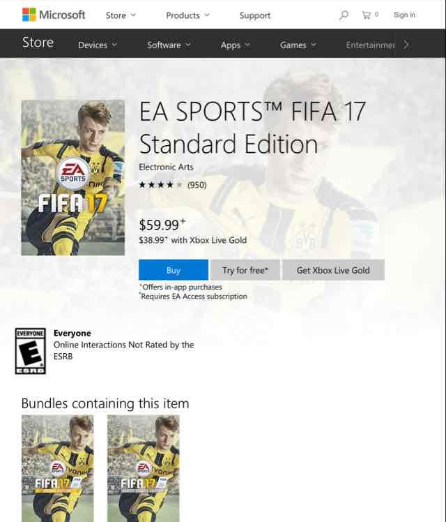 Xbox One - Fifa 17 Standard Edition (download) für ~36€ für Gold Mitglieder (US Store)