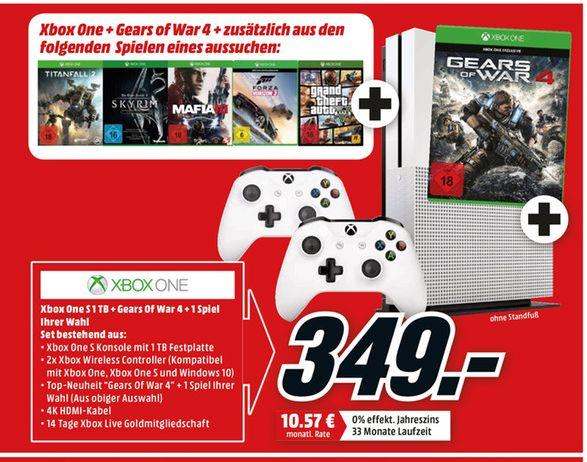 [Mediamarkt] Xbox One S mit 1 TB + Gears of War 4 + 1 Spiel nach Wahl (GTA5, Skyrim V, Mafia 3, Forza Horizon 3 oder Titanfall 2) + 2.Controller (Bluetooth Model) für 349,-€ bei Abholung**Aktion ist Online**
