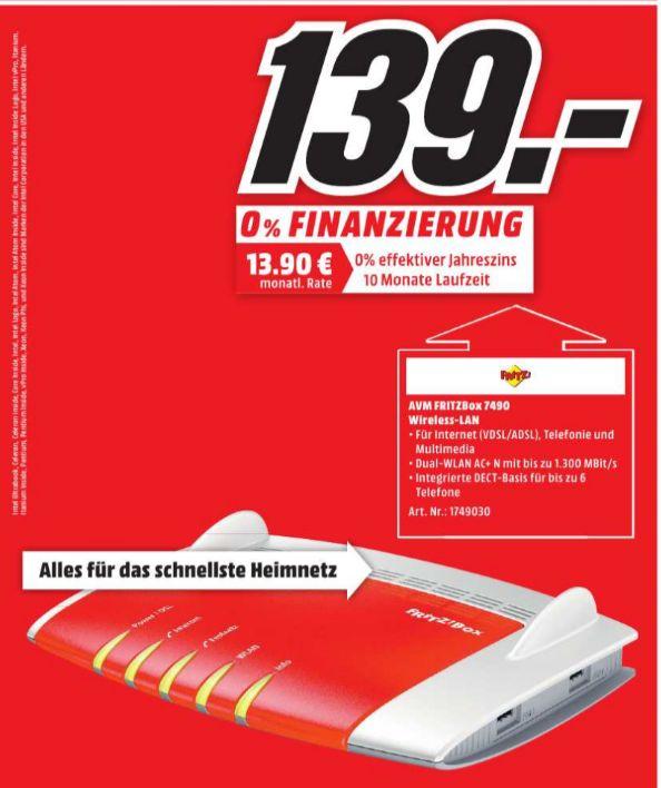 [Lokal Mediamarkt Köln-City am Dom] AVM FRITZ!?Box 7490, Breitbandrouter mit bis zu 450 Mbit/s und IPv6 Unterstützung für 139,-€