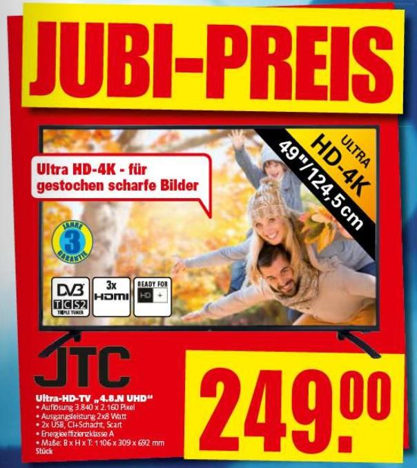 [Lokal] Jubiläumsangebote im E-Center Moabit Berlin z.B. JTC Ultra HD-TV 4K 49 Zoll für unschlagbare 249,-€